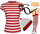 Womens Red and White Stripe T-Shirt Socks Glasses Ladies Hat#(Red And White Stripe T-Shirt#UK 14-16#Womens)