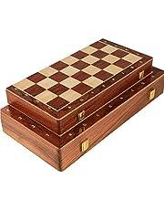شطرنج خشبية، مجموعة شطرنج قابلة للطي مع مساحة تخزين داخلية محمولة قابلة للطي للسفر لعبة الشطرنج المجلس (الحجم: 39 سم)