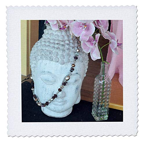 - 3dRose Susans Zoo Crew Scenery - Budda Head Beads Orchids Flower Peaceful Scene - 22x22 inch Quilt Square (qs_294105_9)