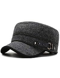 Cherish Men's Warm Peaked Cap Wool Woolen Flat Hat Baseball Cap Hat with Fold Earflap Army Cap