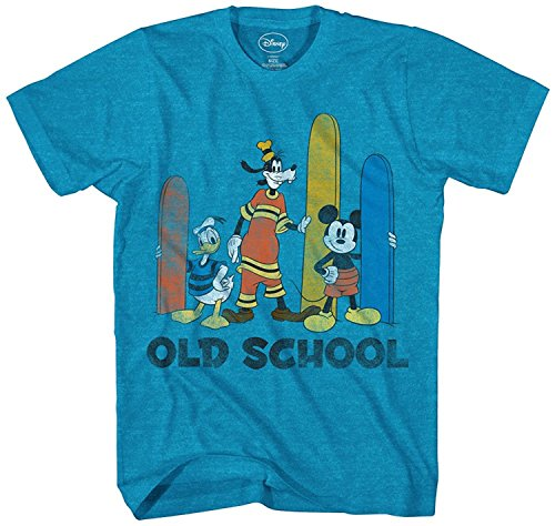 Disney Big Boys' Mickey Mouse, Donald Duck and Goofy T-Shirt, Turquoise Heather, M (Only Medium T-shirt Youth)