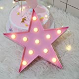 Vimlits Letters Light Star Shape LED Night Light Marquee Light Battery Operated LED Night Lamp for Home Christmas Decoration-Pink