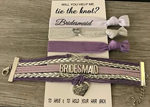 Bridesmaid Collection - Infinity Collection Bridesmaid Gifts, Bridesmaid Jewelry, Bridesmaid Bracelet & Hair Tie Set Makes The for Bridesmaids