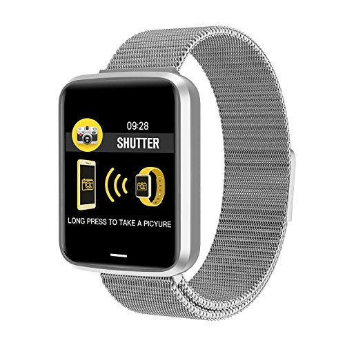 Smart Wristband for Samsung S9 - taStone Smart Wrist Watch with Heart Rate Sleep Monitor Fitness Tracker Blood Pressure Smart Watch for iOS Android Smart Bracelet Message Reminder,Steel-Silver