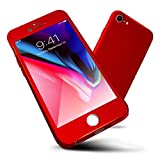 iPhone 6s Case,ORETECH iPhone 6/6s Case Full Body Hard PC Case with[2 x Tempered Glass Screen Protector] Ultra-Thin Lightweight Shock-Absorption and Anti-Scratch Case for iPhone 6 Case -4.7″-Red