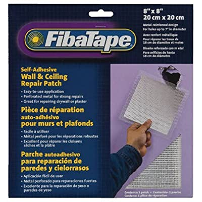 FibaTape 8 inch x 8 inch Self Adhesive Perforated Aluminum Wall and Ceiling Repair Patch