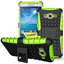 Galaxy Grand Prime Case, FoneExpert® Heavy Duty Rugged Impact Armor Hybrid Kickstand Protective Cover Case For Samsung Galaxy Grand Prime G530 G5308 + Screen Protector & Cloth (Green)