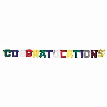 amazon com 4ft metallic congratulations banner childrens party