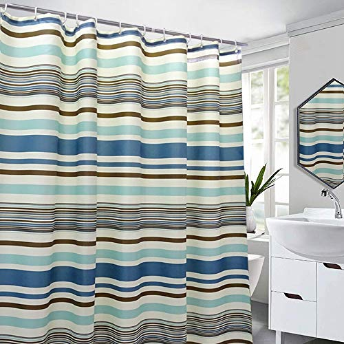 VIERUODIS Colorful Blue Stripes Mediterranean Style Fabric Shower Curtains Liner Hotel Quality, Machine Washable, Waterproof 72 x 72 Inch for Bathroom Long Wide