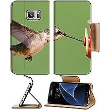 MSD Samsung Galaxy S7 Flip Pu Wallet Case IMAGE ID: 10530391 Ruby throated Hummingbird archilochus colubris at a feeder with a gr