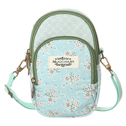 Pattern Canvas Women Green Cell Purse Flower Phone Bags Small Wallet Crossbody For wfqCXxUq6t