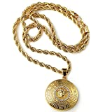 "Halukakah ""MEDUSA"" Mens 18k Stamp Real Gold Plated 3D Pendant Necklace with FREE Rope Chain 30"" Thick 5mm"