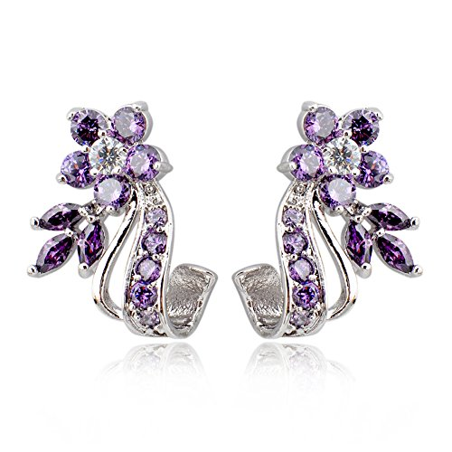 phitak shop Purple White Zircon Floral Drop/Dangle Earrings 10K White Gold Filled Engagement (Zircon 10k Ring)