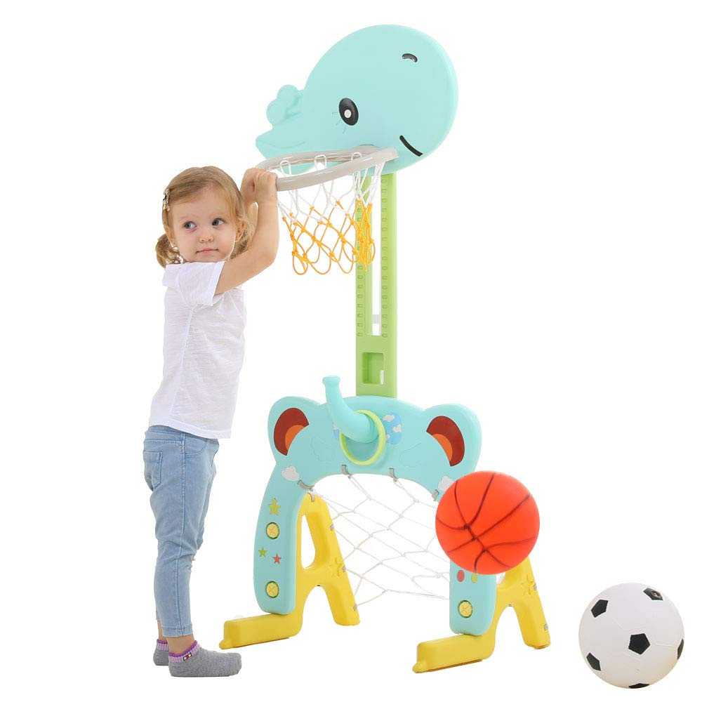 Basketball Hoop Set, 3 in 1 Sports Activity Center Grow-to-Pro Adjustable Easy Score Basketball Hoop, Football / Soccer Goal, Ring Toss Cute Giraffe Best Gift for Baby Infant Toddler by Arkmiido