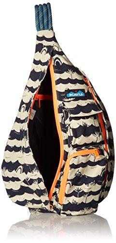 KAVU Rope Bag Cotton Shoulder Sling Backpack 5 Pockets: 1 interior zip, 3 exterior Pockets: 1 interior zip, 2 exterior