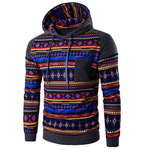 TOPUNDER Herren Kapuzenpullover Bohemian Sweatshirt Tops JackenMantel Outwear (M, Multicolor)