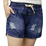 Etecredpow Women's Ripped Hole Drawstring Elastic Waist Jeans Plus Size Denim Short Pants Dark Blue XXXL