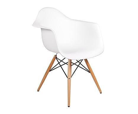 EUROSILLA Silla vintage estilo retro color blanco con patas ...
