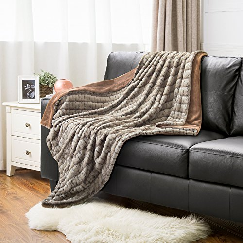 Faux Fur Throw Blanket PV Fleece Bed Throws 60