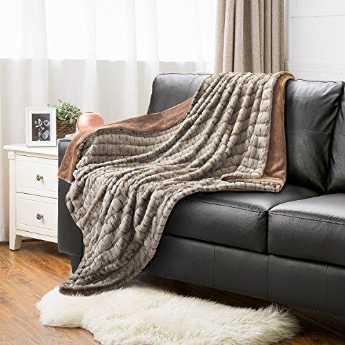 Faux Fur Sherpa Throw Blanket 50x60 Brown Camel Rustic Home