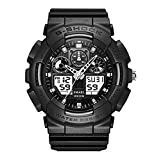 SMAEL SME36 Men's Sports Analog Digtal Wrist Watch Dual Quartz Movement Military Time Water Resistant with Backlight (Black-Grey)