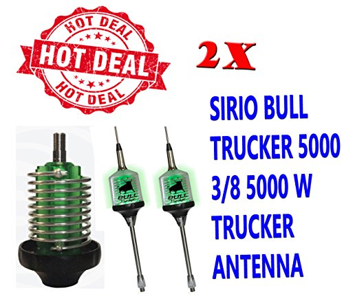 Combo: 2X Sirio Bull Trucker 5000 3/8 5000W CB & 10M Mobile Antenna Shaft - Green LED! (Green Cb Radio Antenna)