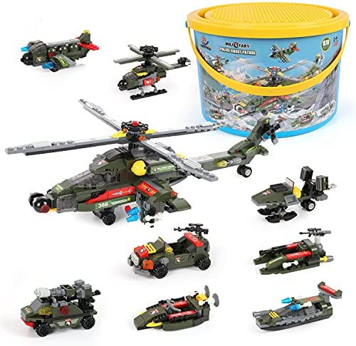 Army Tank Building Blocks 922 Pieces, Exercise N Play Militory Armed Chariot Bricks with Airplane Car Construction for Boys Girls 6 Years+ and Adults