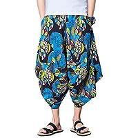 INVACHI Men's Elastic Waist Wide Leg Cotton Harem Baggy Pants Patchwork Linen Capri Trousers Available