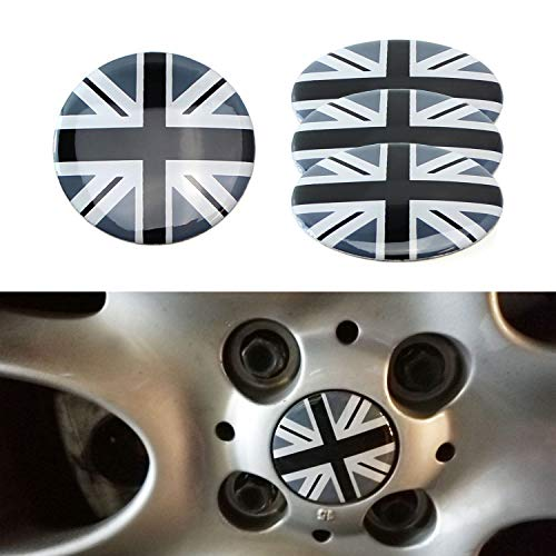 iJDMTOY (4 Black/Grey Union Jack UK Flag Style Wheel Center Cap Covers for Mini Coopers R50 R51 R52 R53 R55 R56 R57 R58 R59 R60 R61 F55 F56, etc