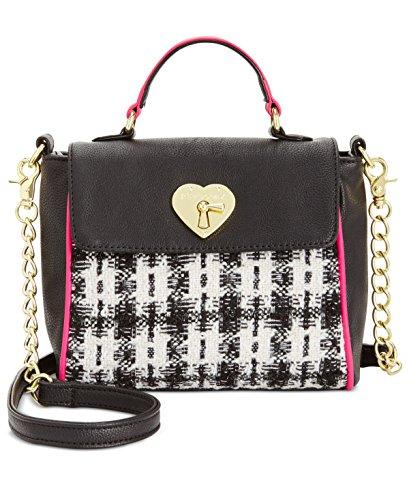 Betsey Johnson Womens Tweed Mini Satchel Handbag B/W Small