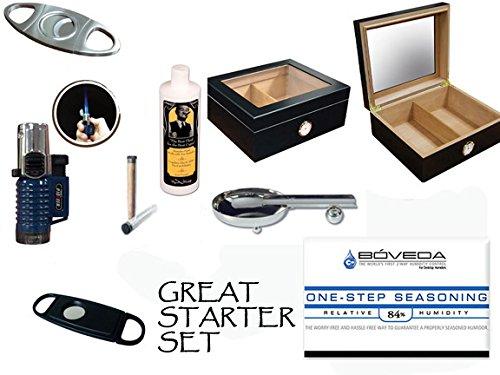 - 50 Count Cigars Glasstop Deep Black Humidor Cutters Lighter Cigar Caddy Gift Set & Calibration Kit ashtray