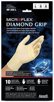 Size:Large Microflex MF300L Diamond Grip Latex Box of 100 Powder-Free Gloves