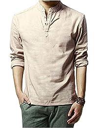 "<span class=""a-offscreen"">[Sponsored]</span>Men Casual Long Sleeve Linen Slim Fit Shirts Beach Shirts"
