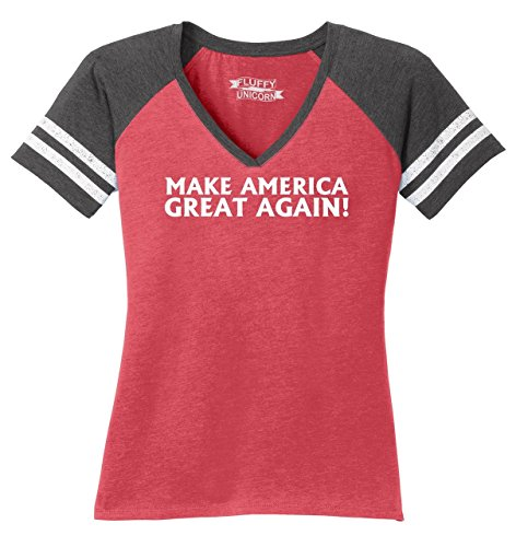 Ladies Game V-Neck Tee Make America Great Again T Shirt Donald Trump President Heathered Red/Heathered Charcoal L -