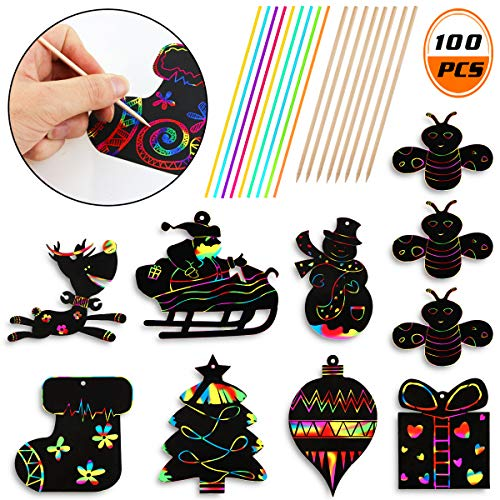 WTSHOP 70PCS Christmas Scratch Ornaments,Include Snowman, Christmas Tree,Reindeer and so on,Craft Kit Toys(Including red Rope) ()