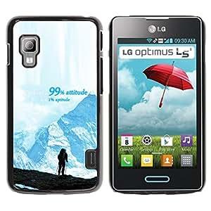 Qstar Arte & diseño plástico duro Fundas Cover Cubre Hard Case Cover para LG Optimus L5 II Dual E455 / E460 / Optimus Duet ( Mountains Success Hiking Climbing Blue)