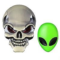 3D Metal Decal Skull Punisher Vehicle Car Motorcycle Sticker?3D Car Full Metal Alien Head Logo Sticker Badge Emblem Car Decals Creative