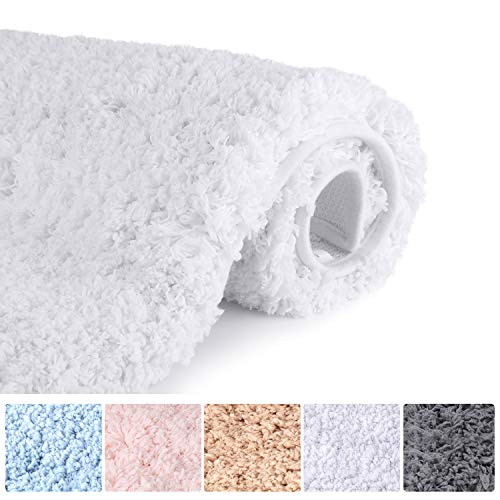 SHEEPPING 20″ X 32″Shaggy Bath Rug, Door Mat, Efficient Water Absorption, Thick, Anti-Slip and Plush Bath Mat for Bathroom, Living Room and Laundry Room(White)