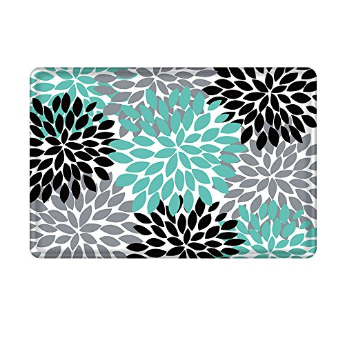 Uphome Dahlia Flower Bathroom Rug, Flannel Microfiber Non-Slip Soft Absorbent Bathroom Kitchen Floor Mat Carpet (16 x 24 Inch, Teal,Black,Grey)