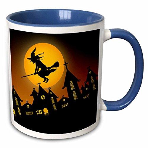 3dRose Simone Gatterwe Designs Holidays Halloween - Spooky Halloween town with flying witch - 11oz Two-Tone Blue Mug (mug_172236_6) -