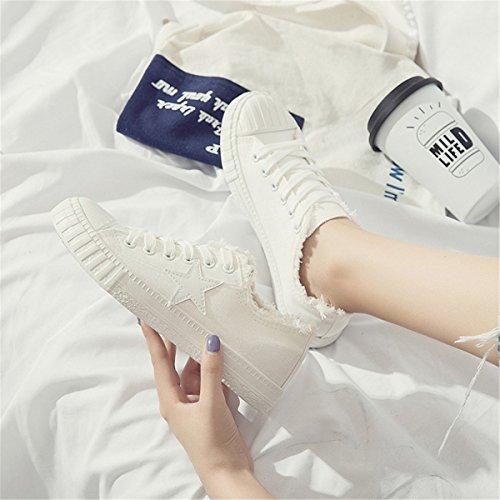 de de Mujer Zapatillas Blanco Deporte Fanessy Lona PO5TAw
