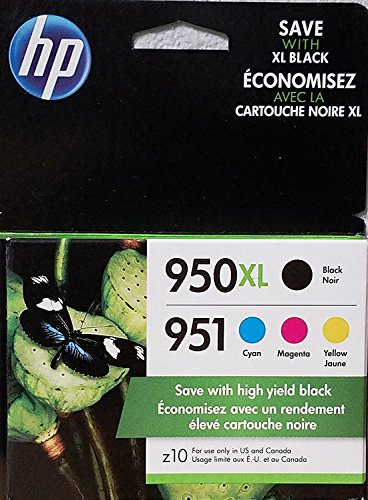 HP 950XL/951 High Yield Black and Standard C/M/Y Color Ink Cartridges
