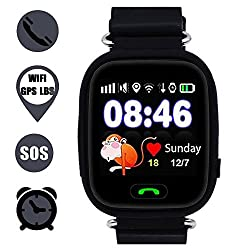 Kids Smart Watch Phone, Gps Tracker Smart Wrist Watch With Sos Anti-lost Alarm Sim Card Slot Touch Screen Smartwatch For 3-12 Year Old Children Girls Boys Compatible For Iphone Android (Black)