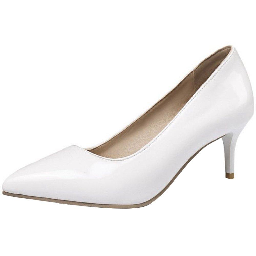 Smilice Women Plus Size US 0-13 Mid Heel Pointy Toe New Dress Pumps 6 Colors Available New B074RFFSV3 32 EU = US 2 = 21 CM White