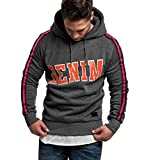 GREFER-Mens New Letter Printed Patchwork Pullover Loose Fit Long Sleeve Hooded Sweatshirt Tops Gray