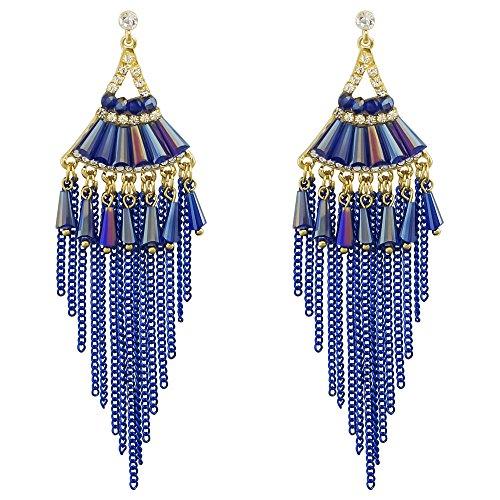 Bohemian Drop Tassel Earrings Crystal Beaded Women Handmade Chandelier Dangle Long Earrings Sapphire Blue
