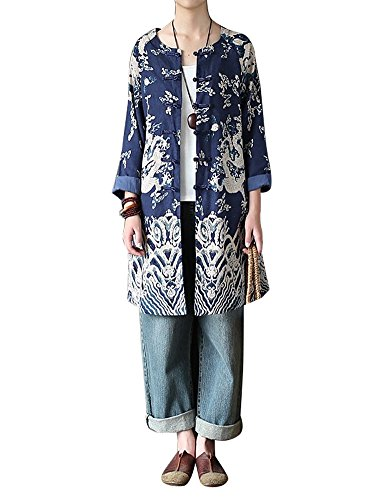 IDEALSANXUN Women's Cotton Linen Vintage Floral Print Lightweight Trench Coat Long Button Down Jacket Robe (Medium, 3 Navy Blue) Button Down Trench Coat