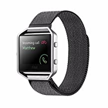 Fitbit Blaze Accessory Band Large X-large, Milanese loop Stainless Steel Bracelet Strap Replacement Band For Fitbit Blaze Smart Fitness Watch (Black)