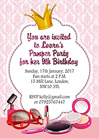10 X Personalised Girls Birthday Pamper Party Invitations Or Thank