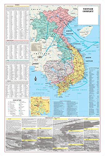 Vietnam Paper - Cool Owl Maps Vietnam War Conflict Wall Map Poster Military - Paper Folded (24